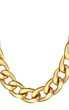 رخيصةأون -رجالي قلادات السلسلة سلسلة سميكة سلسلة مارينر غلو موضة دبي هيب هوب الفولاذ المقاوم للصدأ أسود ذهبي فضي 55 cm قلادة مجوهرات 1PC من أجل هدية مناسب للبس اليومي