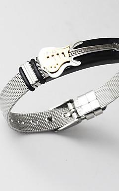 povoljno -Muškarci Široke narukvice razboj narukvice Narukvica lanac Klasičan Sa stilom Glazba Kreativan Gitara Statement Jedinstven dizajn Moda 18K pozlaćeni Narukvica Nakit Zlato Za Dar Dnevno / nehrđajući