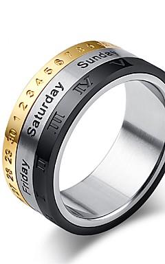 رخيصةأون -رجالي خاتم 1PC فضي سبيكة Circle Shape بانغك مناسب للبس اليومي مجوهرات دولاب الأبراج كوول