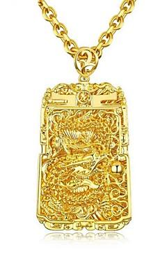 رخيصةأون -رجالي قلائد الحلي ستايل منقوش موضة مطلية بالذهب عيار 18 نحاس ذهبي 61 cm قلادة مجوهرات 1PC من أجل هدية مناسب للبس اليومي