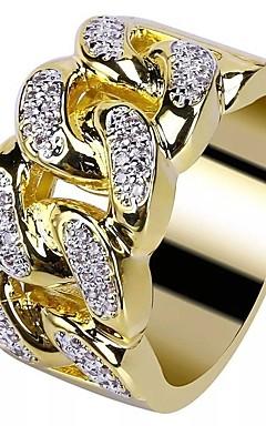 رخيصةأون -رجالي خاتم مكعب زركونيا 1PC ذهبي مطلية بالذهب عيار 18 نحاس حجر الراين دائري أنيق أوروبي شائع زفاف حفلة تنكرية مجوهرات ستايل خلاق كوول