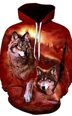 رخيصةأون -رجالي قياس كبير فضفاض بنطلون - 3D ذئب, طباعة نبيذ / مع قبعة / الرياضة / كم طويل / الخريف / الشتاء