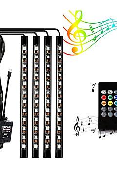 رخيصةأون -Zdm 4 قطع 9 بوصة سيارة أدى قطاع أضواء 72 الصمام متعدد الألوان الموسيقى أضواء السيارة الداخلية جو usb led قطاع للسيارة تلفزيون المنزل مع الصوت نشط وظيفة