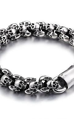 cheap -Men's Chain Bracelet Vintage Style Skull Stylish Vintage Korean Titanium Steel Bracelet Jewelry Black / Silver For Halloween Street