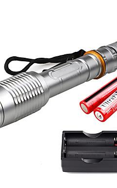 Недорогие -U'King Светодиодные фонари 2000 lm Светодиодная лампа LED излучатели 5 Режим освещения с батарейками и зарядным устройством Масштабируемые Фокусировка / Алюминиевый сплав