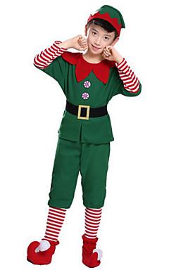 povoljno -Patuljak Cosplay Nošnje Santa Clothe Dječji Odrasli Boy Muškarci Božić Božić Karneval Dječji dan Festival / Praznik Pliš Terilen Zelen Karneval kostime Odmor
