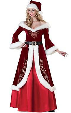 povoljno -Santa Clothe Odrasli Žene Halloween Božić Božić Halloween Karneval Festival / Praznik Polyster Red Karneval kostime Jednobojni Božić