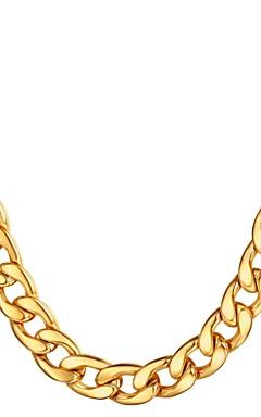 رخيصةأون -رجالي قلادات السلسلة الارتباط الكوبي سلسلة مارينر غلو موضة هيب هوب الفولاذ المقاوم للصدأ أسود ذهبي فضي 55 cm قلادة مجوهرات 1PC من أجل هدية مناسب للبس اليومي