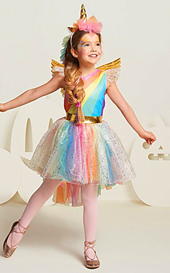 povoljno -Princeza Unicorn Cosplay Nošnje Cvjetna djevojka haljina Dječji Djevojčice Line-Slip Haljine Mesh Božić Halloween Karneval Festival / Praznik Til Pamuk Duga Karneval kostime Duga Jednorog / Haljina