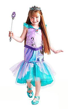 povoljno -The Little Mermaid Aqua Princess Cosplay Nošnje Cvjetna djevojka haljina Dječji Djevojčice Line-Slip Aktivan Halloween Božić Halloween Karneval Festival / Praznik Til Pamuk Zelen Karneval kostime