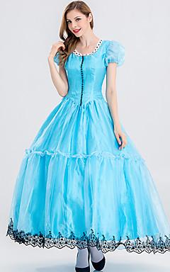 povoljno -Alice in Wonderland Cosplay Nošnje Odrasli Žene Haljine Božić Halloween Karneval Festival / Praznik Velours Pamuk Plava Karneval kostime Princeza
