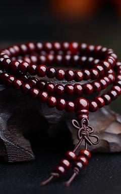 ieftine -Bărbați Brățări cu Mărgele Bratari Wrap Ștrasuri Multistratificat Simplu Vintage De lemn Bijuterii brățară Negru / Galben / Rosu Pentru Zilnic Stradă