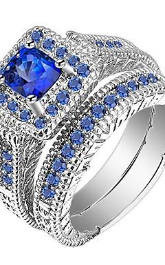 رخيصةأون -رجالي نسائي خاتم خواتم مجموعة 2pcs أزرق سبيكة هدية مناسب للبس اليومي مجوهرات مهد كوول