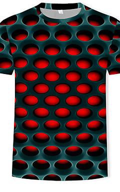 رخيصةأون -رجالي أناقة الشارع / مبالغ فيه طباعة تيشرت, ألوان متناوبة / 3D رقبة دائرية / كم قصير