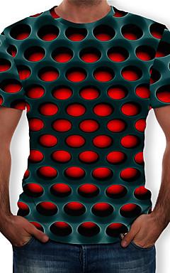 رخيصةأون -رجالي أناقة الشارع / مبالغ فيه طباعة تيشرت, هندسي / 3D رقبة دائرية