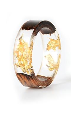 رخيصةأون -رجالي نسائي خاتم الراتنج 1PC ذهبي راتينج خشب دائري الطبيعة بوهو هدية مجوهرات زهريFloral Theme وردة النباتية جميل محبوب