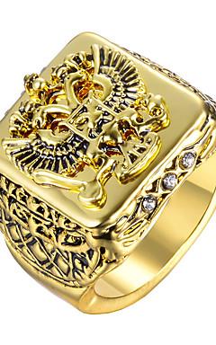 رخيصةأون -رجالي خاتم 1PC ذهبي فضي سبيكة عسكري هدية مناسب للبس اليومي مجوهرات أشكال النحت قمة الأسرة