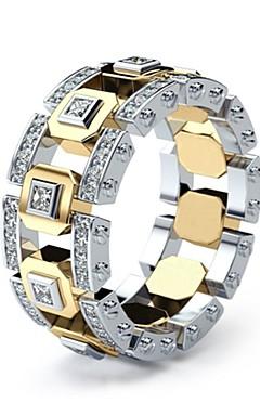 رخيصةأون -رجالي نسائي خاتم 1PC ذهبي خاتم فضة 1 الطوق الذهبي 1 تقليد الماس سبيكة أوروبي مناسب للبس اليومي مجوهرات فراغ خارجي حد السكين