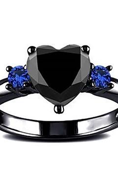 رخيصةأون -رجالي نسائي خاتم 1PC أسود نحاس حجر الراين أوروبي مناسب للبس اليومي مجوهرات قلب