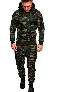 baratos -Homens Básico activewear Set Sólido / camuflagem