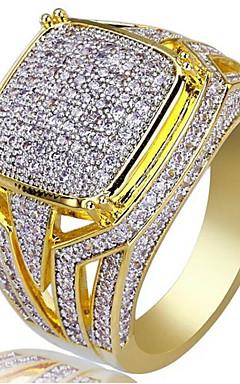 رخيصةأون -رجالي خاتم مكعب زركونيا 1PC ذهبي مطلية بالذهب عيار 18 مربع أنيق مناسب للحفلات مناسب للبس اليومي مجوهرات كلاسيكي فرح كوول