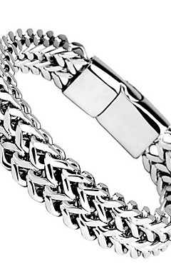 ieftine -Bărbați Brățară Chainul gros XOXO La modă Oțel titan Bijuterii brățară Argintiu Pentru Zilnic