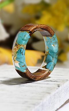 رخيصةأون -رجالي نسائي خاتم الراتنج 1PC فيروز راتينج خشب دائري الطبيعة بوهو هدية مجوهرات زهريFloral Theme وردة النباتية جميل محبوب