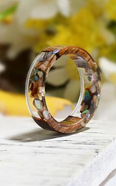 رخيصةأون -رجالي نسائي خاتم الراتنج 1PC رمادي راتينج خشب دائري الطبيعة بوهو هدية مجوهرات زهريFloral Theme وردة النباتية جميل محبوب
