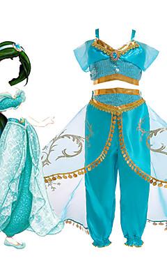povoljno -Princess Jasmine Haljine Cosplay Nošnje Cvjetna djevojka haljina Dječji Djevojčice Line-Slip Halloween Božić Halloween Karneval Festival / Praznik Til Polyster Zelen / LightBlue Karneval kostime