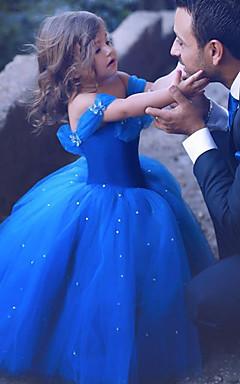 povoljno -Princeza Cinderella Haljine Cvjetna djevojka haljina Dječji Djevojčice Line-Slip Božić Halloween Karneval Festival / Praznik Organza Pamuk Dark Blue Karneval kostime Kristalna površina / Haljina