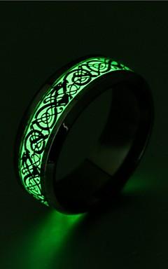 رخيصةأون -رجالي نسائي خاتم حجر مضيئة 1PC ذهبي أسود فضي الفولاذ المقاوم للصدأ دائري عتيق أساسي موضة هدية مجوهرات كوول