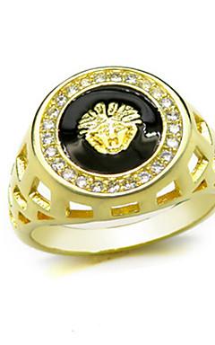 رخيصةأون -رجالي خاتم 1PC أصفر نحاس دائري أساسي الكورية موضة مهرجان مجوهرات أسد حيوان كوول
