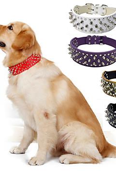 hesapli -Köpek Yakalar Taşınabilir Solid PU Deri Siyah Kahverengi Beyaz