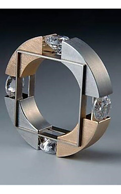 رخيصةأون -رجالي خاتم مكعب زركونيا 1PC ذهبي نحاس Geometric Shape موضة خطوبة مناسب للبس اليومي مجوهرات هندسي مبارك كوول
