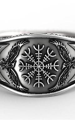 رخيصةأون -رجالي خاتم 1PC فضي طلاء الفضة Geometric Shape عتيق مناسب للبس اليومي مناسب للعطلات مجوهرات هندسي وردة كوول