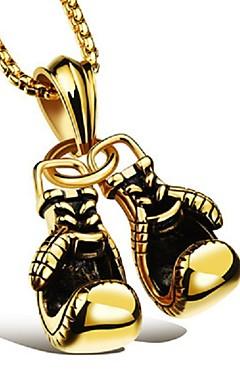 رخيصةأون -رجالي قلائد الحلي قلادات السلسلة ستايل سلسلة الثعلب سلسلة دوكي قفازات الملاكمة أنيق أوروبي هيب هوب سبيكة أسود ذهبي فضي 60 cm قلادة مجوهرات 1PC من أجل هدية شارع