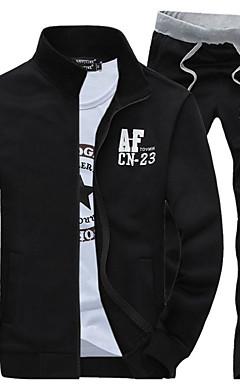 povoljno -Muškarci Sport Aktivan Dugih rukava Slim Activewear Set Slovo Ruska kragna / Proljeće / Jesen / Zima