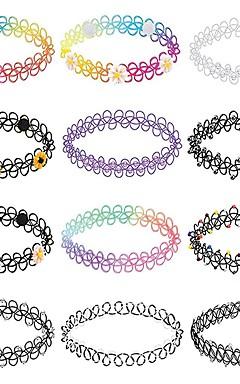 رخيصةأون -رجالي نسائي قلادات ضيقة جديلي بسيط حبل التقزح اللوني 32 cm قلادة مجوهرات 12p جيم من أجل مناسب للبس اليومي