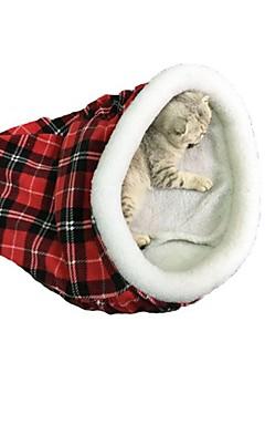 رخيصةأون -قطط الأسرّة تيريليني حيوانات أليفة بطانات Plaid / Check الدفء مزدوج قابلة للطي أسود أحمر