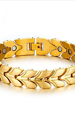 povoljno -Muškarci Gipke i čvrste narukvice Geometrijski Cvjetni Tema Moda Čelik Narukvica Nakit Zlato / Srebro Za Dnevno Rad