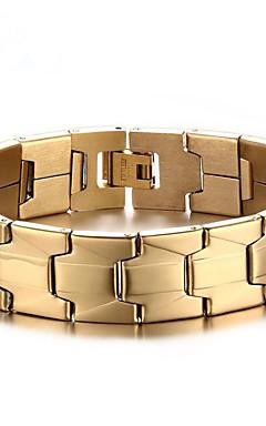 povoljno -Muškarci Gipke i čvrste narukvice Geometrijski Vertikalno Moda Čelik Narukvica Nakit Zlato Za Dnevno Rad