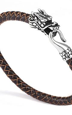 povoljno -Muškarci Ručno povezana narukvica Geometrijski Sretan Casual / sportski vještačka koža Narukvica Nakit Crn / Braon / Plava Za Dnevno