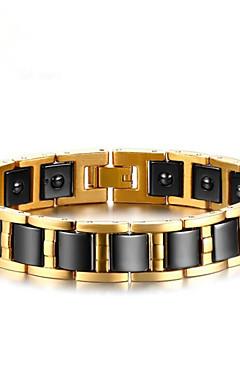 povoljno -Muškarci Hematit Gipke i čvrste narukvice Geometrijski Vertikalno Moda Titanium Steel Narukvica Nakit Zlato Za Dar Dnevno