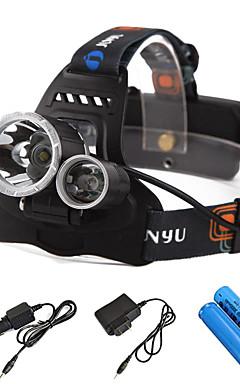 Недорогие -Налобные фонари Фары для велосипеда Водонепроницаемый Перезаряжаемый 4800 lm Светодиодная лампа LED 3 излучатели 4.0 Режим освещения с батарейками и зарядным устройством / IPX-6