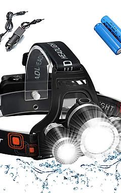 Недорогие -Налобные фонари Велосипедные фары Фары для велосипеда Водонепроницаемый Перезаряжаемый 5000 lm Светодиодная лампа 3 излучатели 4.0 Режим освещения с батарейками и зарядными устройствами