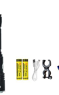 Недорогие -Светодиодные фонари Ультрафиолетовые фонари Фары для велосипеда Светодиодная лампа излучатели 4.0 Режим освещения с батарейками и USB кабелем LED 2 в 1