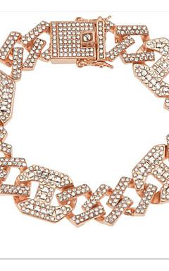 ieftine -Bărbați Transparent Diamant sintetic Brățări cu Lanț & Legături Bratari de tenis Brățară Chainul gros Norocos La modă Hippie Aliaj Bijuterii brățară Roz auriu / Auriu / Argintiu Pentru Petrecere