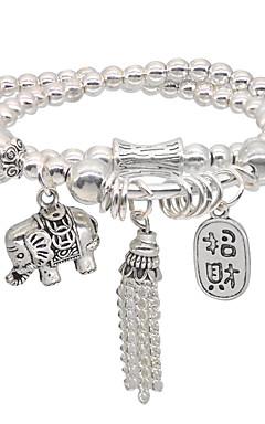 ieftine -Bărbați Pentru femei Brățări cu Mărgele Brățară de prietenie Bratari Wrap Χάντρες Elefant Modă Tema Vintage Stilat Design Unic Stil Atârnat Vintage Έθνικ Aliaj Bijuterii brățară Argintiu Pentru