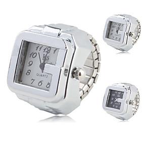 billige Klokkeringer-Dame Ringur Square Watch Quartz Sølv Hverdagsklokke Analog damer Vintage Mote - Hvit Svart Ett år Batteri Levetid / SSUO SR626SW