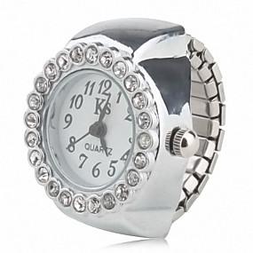 billige Klokkeringer-Dame Ringur Diamond Watch Japansk Quartz Sølv Hverdagsklokke Analog damer Glitrende Mote